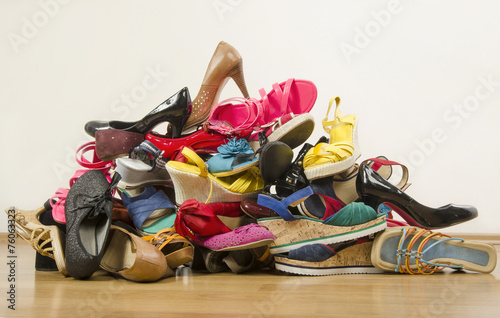 canvas print picture Big pile of colorful woman shoes.