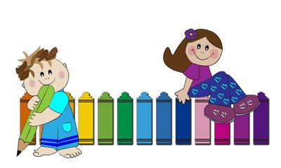 Niños y lápiz