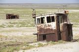 Remains of fishing boats at the sea bed of Aral sea, Kazakhstan