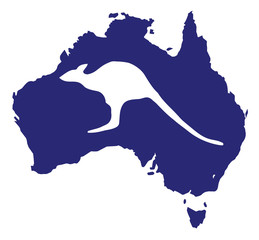 Australia Map With Kangaroo Silhouette