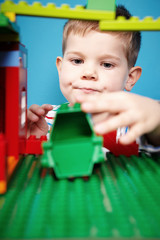 Boy with building kit