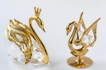 Golden couple swans figurine