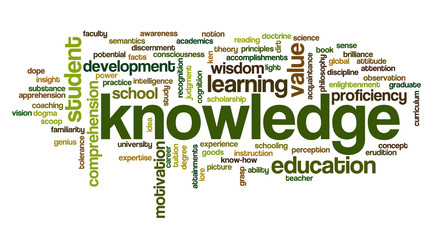 Conceptual image of tag cloud containing words related to knowle