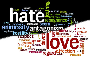 Cloud containing words related to hate opposed to love