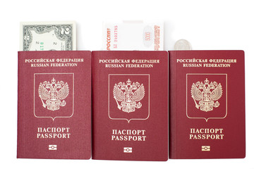 Russian passports with rubles and dollars