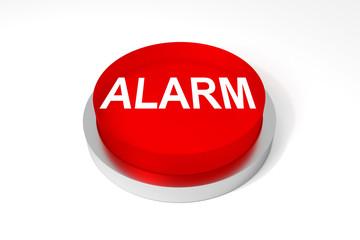 Roter Knopf Alarm auf weißem Hintergrund