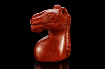 Red jasper carved horse head