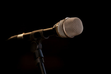 Microphone on a black background