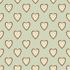 Abstract seamless polka dot pattern with hearts