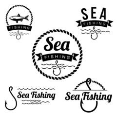 set of fishing labels badges and design elements