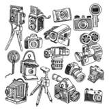 Camera doodle sketch icons set - 76067392