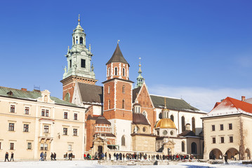 Tourists at the Wawel Castle complex in Krakow, Poland