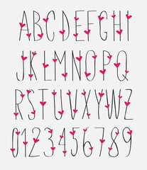 handwritten font with hearts