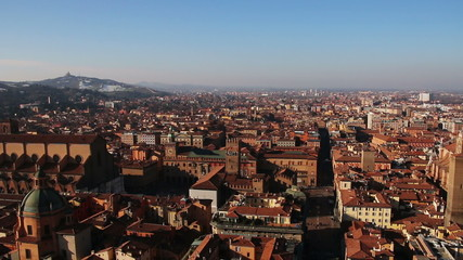 Panorama of old Bologna, Italy.