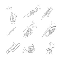 instrument, music, painting, musical, saxophone