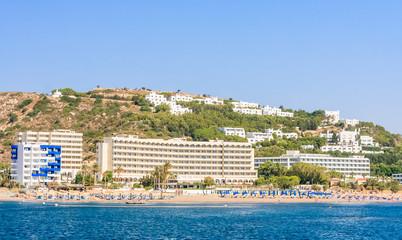 Vacation at sea. The resort of Faliraki. Rhodes Island. Greece