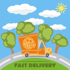 Fast delivery van truck with pizza vinyl logo. Vector.