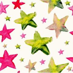 Watercolor star seamless pattern