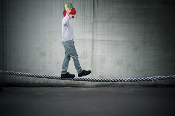 balancing on the rope