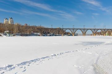 Landscape with frozen Dnepr river in  Ukraine.