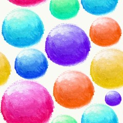 Colorful watercolor ball seamless pattern