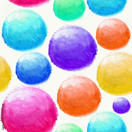 Colorful watercolor ball seamless pattern © cienpiesnf