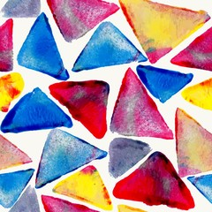 Watercolor triangle seamless pattern