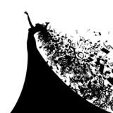 Silhouette of Opera Singer with Long Hair Like Musical Notes