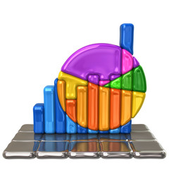 Colorful business graph on silver blocks