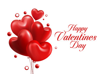 Valentines Day Red Sweet Hearts. 3D Vector Illustration