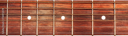 Leinwanddruck Bild Acoustic guitar fretboard background