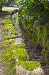 Traditional japanese garden water channel