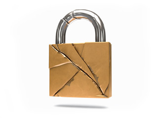3D Isolated Security Broken Padlock