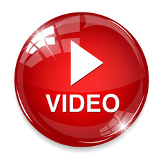 video  glossy web icon on white background