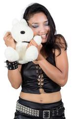 cheerful girl with teddy bear