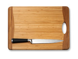 knife on vintage cutting board