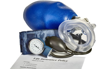 Blood pressure monitor with CPR mask and insurance