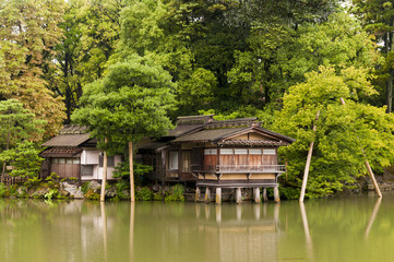 Traditional japanese house on the water columns