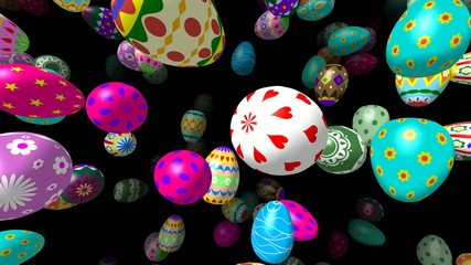 Flying easter eggs generated 3D 4K video