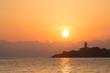 Leinwanddruck Bild - Light house in Alcanada on the island majorca in the sunrise
