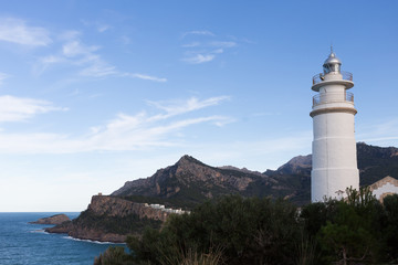 Light house in Puerto Soller in the west of the island Majorca