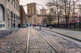 Tram Track on a Cobbled Street in Brooklyn - 76074349