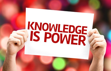 Knowledge is Power card with colorful background