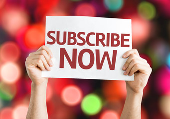 Subscribe Now card with colorful background