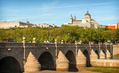 Madrid Skyline with the Segovia Bridge, Almudena Cathedral and t