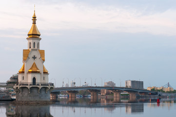 Capital of Ukraine - Kyiv. Church Saint Nicholas on the water,