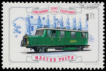 Stamp printed in Hungary shows locomotive