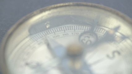 Close up view of the compass and its numbers