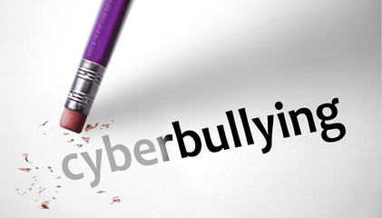 Eraser deleting the word cyberbullying