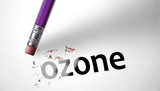 Eraser deleting the word Ozone poster